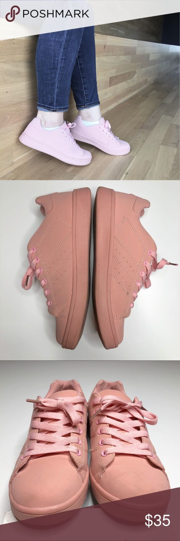 Millennial Pink Sneakers Pink lace-up sneakers in faux leather. Light markings in areas of high wear, particular toes, as noted. Scratches on one shoe as pictured. Worn twice. Please carefully review each photo before purchase as they are the best descriptors of the item. Price is firm. 10% off bundle of 2. Bundles of 3 or more are negotiable. No trades. First come, first served. Thank you! :) Truffle Collection Shoes Sneakers