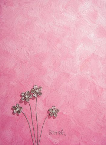 Wire Art on canvas: Silver wire flowers on a painted pink canvas by Sarah Jansma