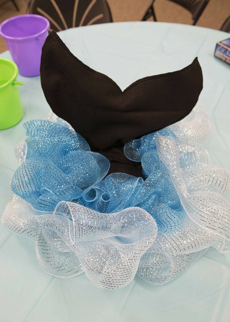 Whale tail table topper -- underwater decoration idea for Ocean Commotion VBS 2016