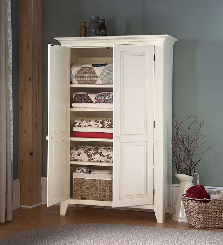 This linen cabinet is so versatile it can be used in almost every room of the house.   From toys, games, books, quilts to kitchen pots and pans, this cabinet has 4 adjustable shelves to accommodate all of your treasured possessions!  Solid pine.  The back is made of knotty pine luan, which looks like pine but is thinner.