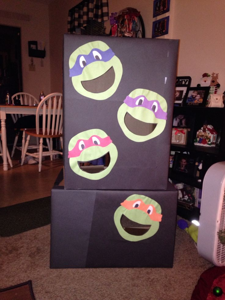 Ninja Turtle Bean bag toss game that I made for my son's  birthday party!