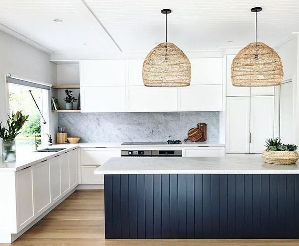 Absolutely Love The Use Of Dark Vj Paneling On Island Benches For A Bit Of Contrast Can T Wait Contemporary Kitchen Contemporary Kitchen Design Kitchen Design