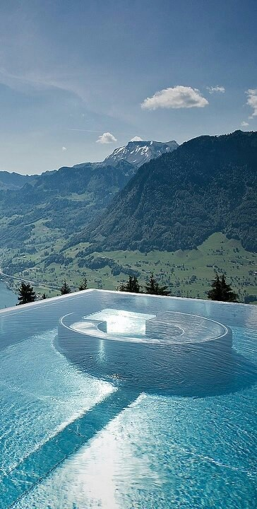 Infinity pool | overlooking the beautiful landscapes of Switzerland