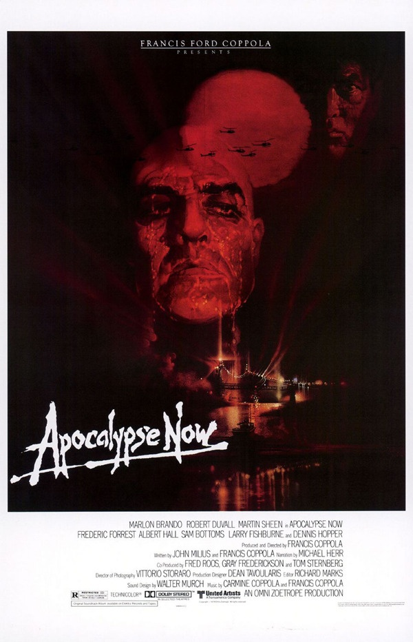 Apocalypse Now (1979) directed by Francis Ford Coppola, starring Marlon Brando, Martin Sheen, Robert Duvall, Laurence Fishburne, Dennis Hopper & Harrison Ford