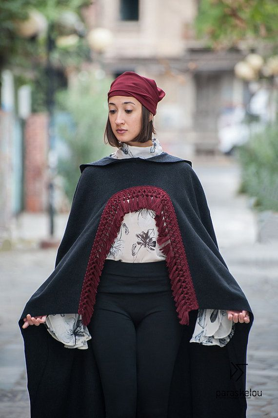 wool hooded cape kapuzen cape  asymmetrical   by paraskeloufashion