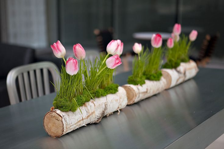 Tulips and Moss in Tree Log :: Rustic Centerpiece or Decor Inspiration