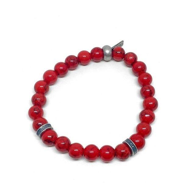 Men's Ettika Fire Power Bracelet ($50) ❤ liked on Polyvore featuring men's fashion, men's jewelry, men's bracelets, red, mens bead bracelets, mens watches jewelry, mens charm bracelet and mens bracelets