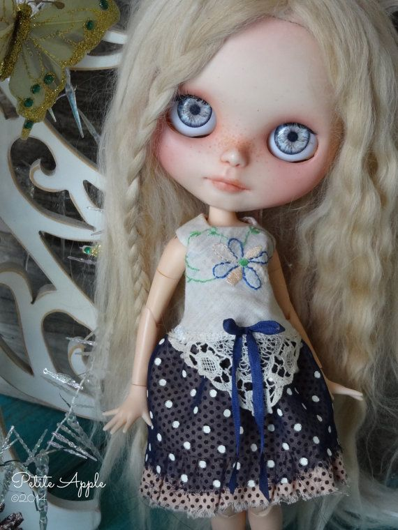 Blythe doll outfit OOAK Gott Nytt År vintage by PetiteAppleShop