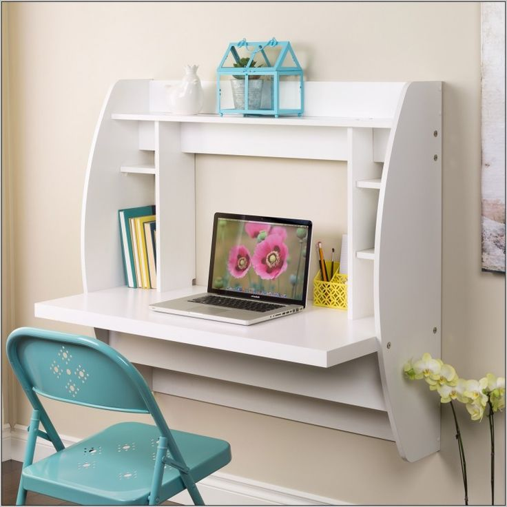 White Wooden Wall Mounted Folding Laptop Table With Bookcase Plus Blue Folding Chair As Well As Wall Mounted Laptop Workstation  And Stainless Steel Folding Wall Mounted Table