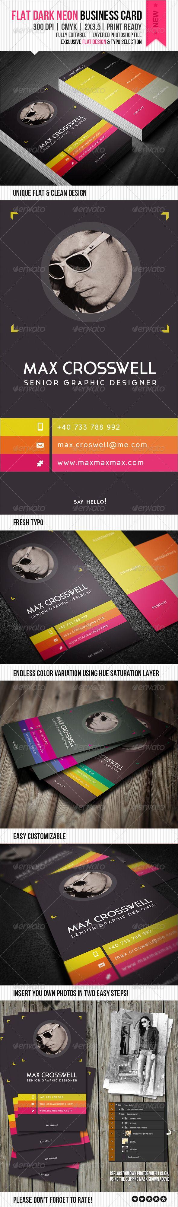 91 best print templates images on pinterest print templates font flat dark neon business card reheart Gallery