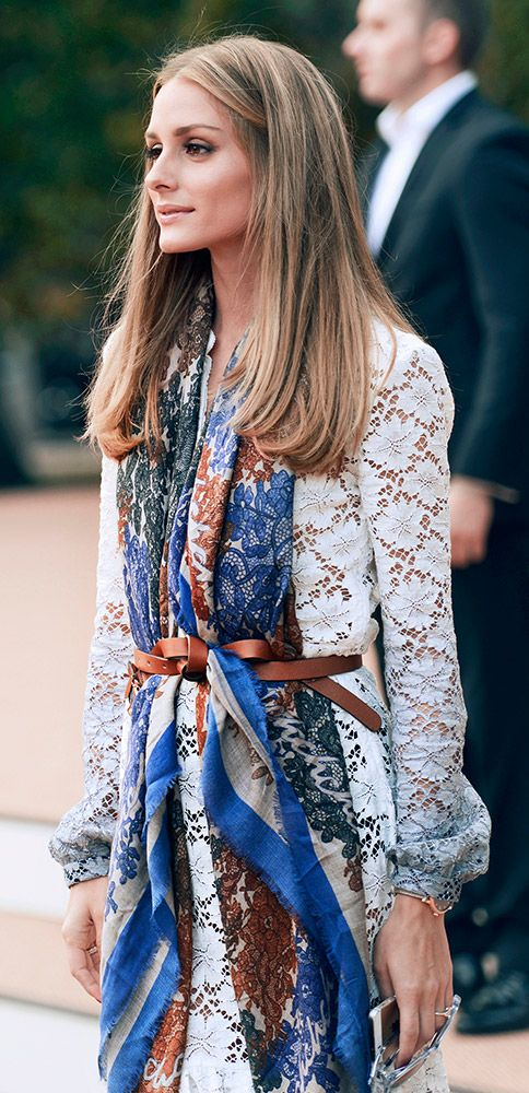 Olivia Palermo wearing Burberry as the show is about to begin