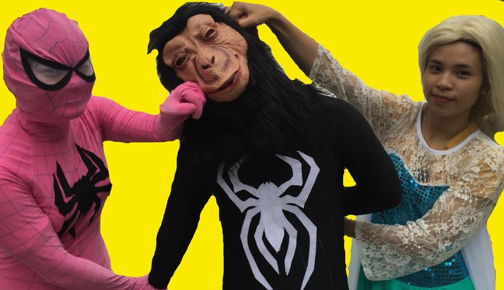 Elsa Pink SpiderGirl rescue Spiderman from the venom King Kong Fun Super...