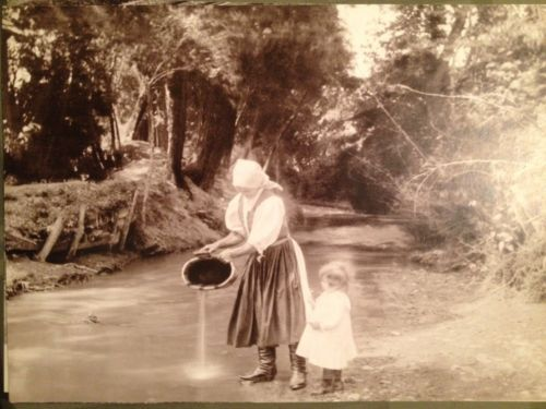 "Pavel Sochan 9x13 Black & White Photograph Slovakia ""By The Brook"" Woman Child"