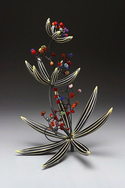 Michael Sherrill, Artist, Alma's Weed, 2003, silica bronze, Moretti glass, porcelain with abraded glaze