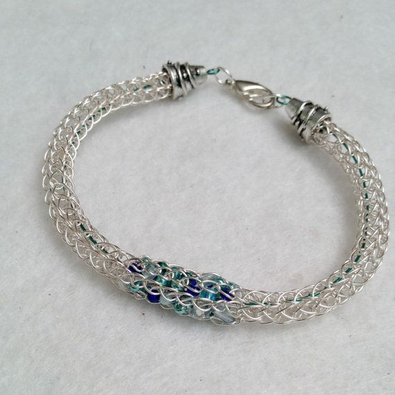 Ladies beaded viking knit bracelet silver and blue by DonnaDStore, $24.00