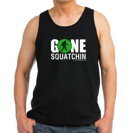 Gone Squatchin White/Green Logo Tank Top - #squatchin Bigfoot