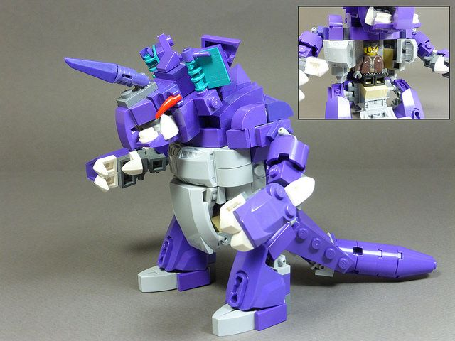 LEGO Purple Dinosaur. No, not Barney! - Nidoking - Look at the small insert picture. Minifig inside.