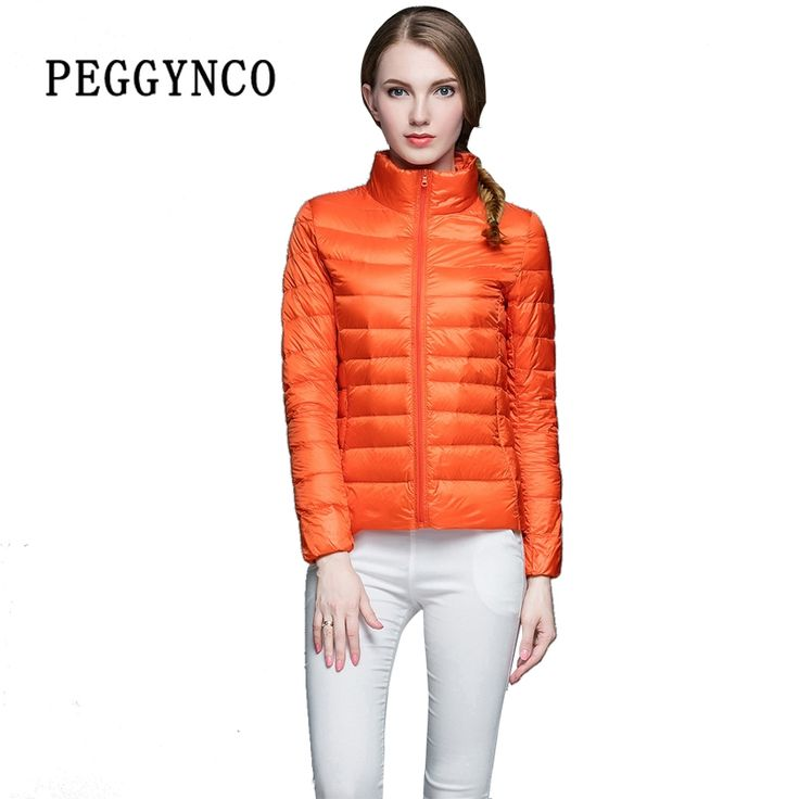 45.00$  Buy now - http://aliitf.shopchina.info/1/go.php?t=32781775025 - Sping Womens Puffer Coat Pocketable Orange Ultra Light Stand Collar Short Bomber Jacket Thermal PE Padded Female Cotton Coats  #buyonlinewebsite