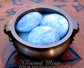 Blue Calcite is one of the most soothing stones to use with the emotional and spiritual bodies. It softens the impact of stimulus allowing those who are sensitive to relax and feel protected from the emotions and energies of those around them. This makes it an excellent stone for empaths.  Blue Calcite is also known to stimulate creativity and inspiration. It also enhances dreaming in both aspects of vividness/content and the ability to recall dreams.