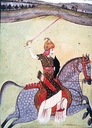 Baji Rao I Mughal School - http://www.tribuneindia.com/2000/20000220/spectrum/main3.htm Peshwa Baji Rao I (1699-1740), A Maratha general and Prime Minister to the fourth Maratha Chhatrapati (Emperor) Shahu.