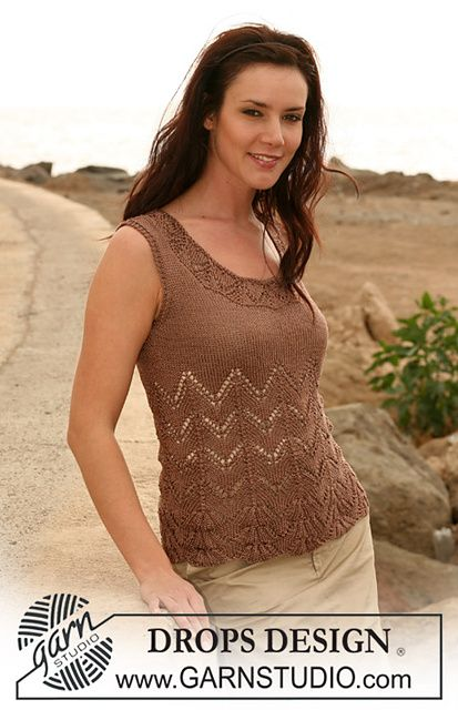"107-8 top with lace pattern in ""Cotton Viscose"" by DROPS design"
