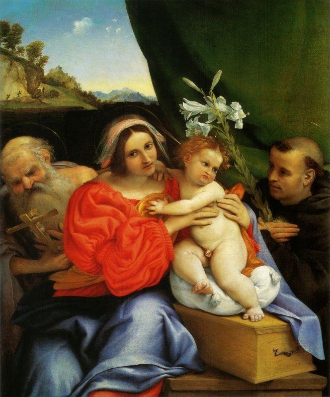 Лоренцо Лотто. Мадонна с младенцем, святой Иероним и святой Антоний Падуанский.