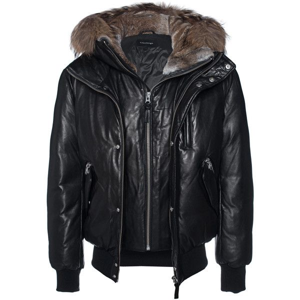 MACKAGE Glen Bomber Black // Leather down bomber jacket (€1.599) ❤ liked on Polyvore featuring men's fashion, men's clothing, men's outerwear, men's jackets, mens leather bomber jacket, mens real leather jackets, mens hooded down jacket, mens leather flight jacket and mens zipper jacket