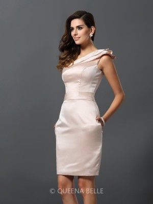 Sheath/Column Sleeveless One-Shoulder Knee-Length Satin Dresses - Occasion Dresses - Wedding & Events - QueenaBelle 2017