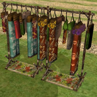 A lovely tropical clothing rack for your clothes shops on Twikki Island.