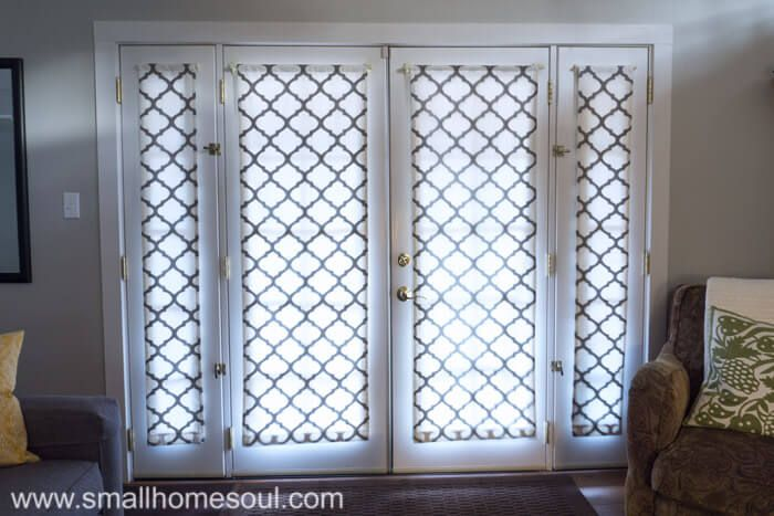 Simple French Door Curtains Hung After Sewing French Door Curtains French Doors Interior French Door Window Treatments