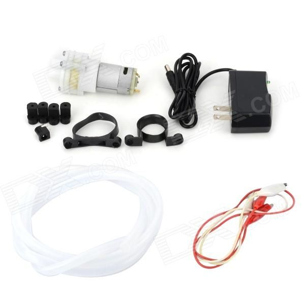 DIY Water Pump Motor Water Pipe Power Supply Set - White + Silver