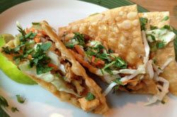 Copycat recipe for Applebees Chicken Wonton Tacos appetizer, in plate T