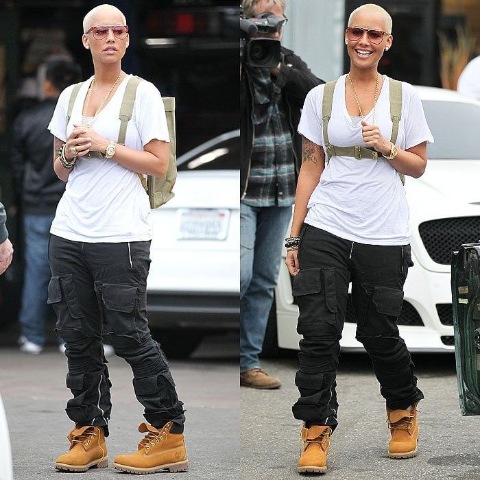 f5d0c34364a Amber Rose wearing Timberland boots | Ronnie | Timberland outfits ...