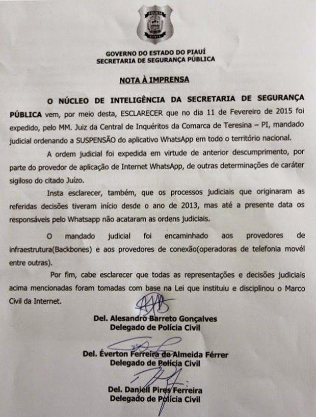 Blog Paulo Benjeri Notícias: Decisão de Juiz do Piauí manda tirar WhatsApp do a...