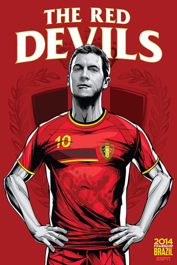 Belgica - Belgium, Afiches fútbol Copa Mundial Brasil 2014 / World Cup posters by Cristiano Siqueira