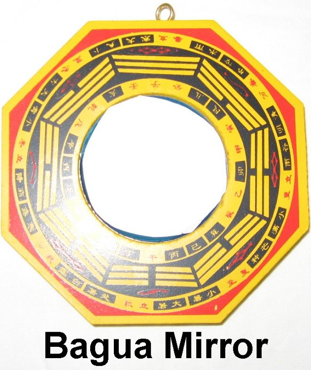 Concave Bagua Mirror - Feng Shui cure protects you from negative energy like poison arrows, like a tree or other item in line with your front door, or to protect from negative energy stemming from your neighbors (human or environmental like a cemetery). http://www.yourfengshuistore.com/Concave-Bagua-Mirror_p_72.html