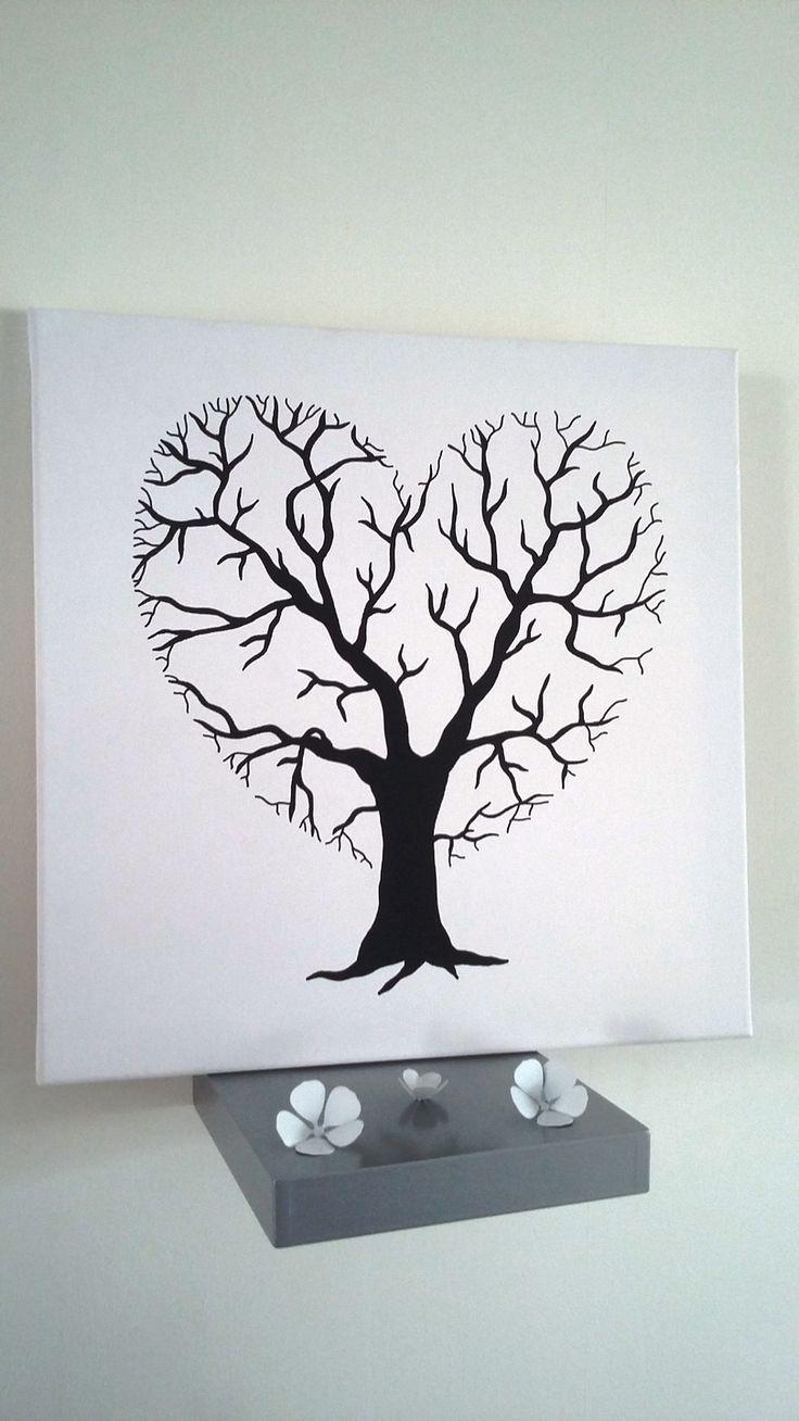 """arbre à empreintes """" de l'amour le coeur est la racine """" : Décorations mur…"""