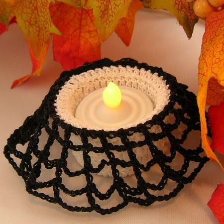 Spiderweb Tealight Candle Holder   A Free Crochet Pattern From Jpfun.com.