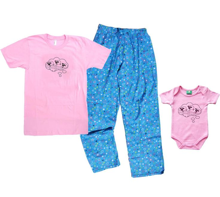 COUNTING SHEEP Mommy Pajamas & Matching Baby Girl Onesie - Pink