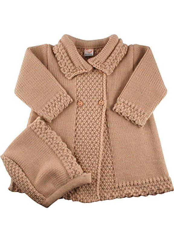 Abrigo de punto para niña camel - cisne blanco moda infantil