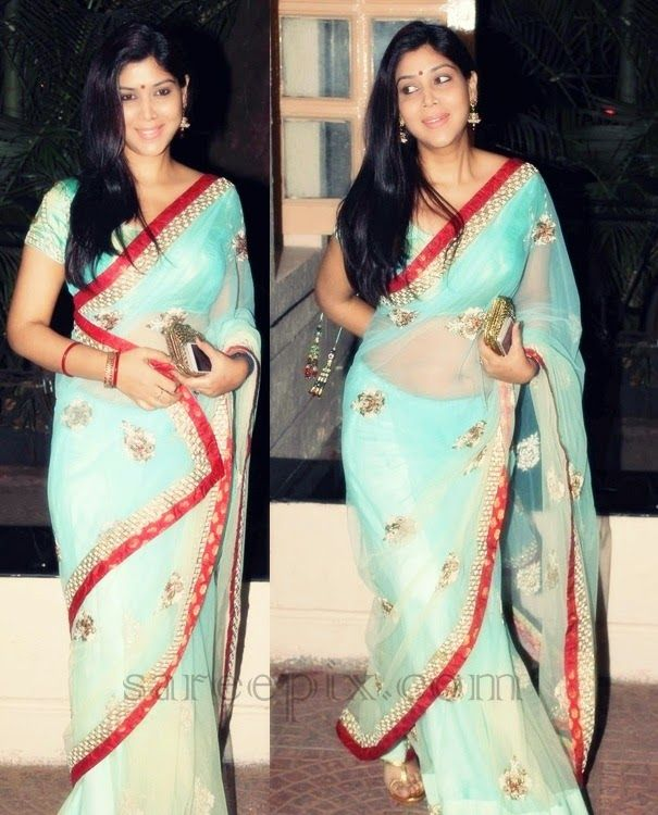 Sakshi tanwar in transparent saree at Ekta kapoor diwali party 2014