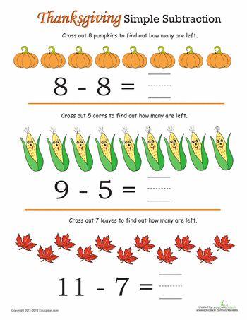 thanksgiving math simple subtraction 3 seasons fall unit thanksgiving math subtraction. Black Bedroom Furniture Sets. Home Design Ideas