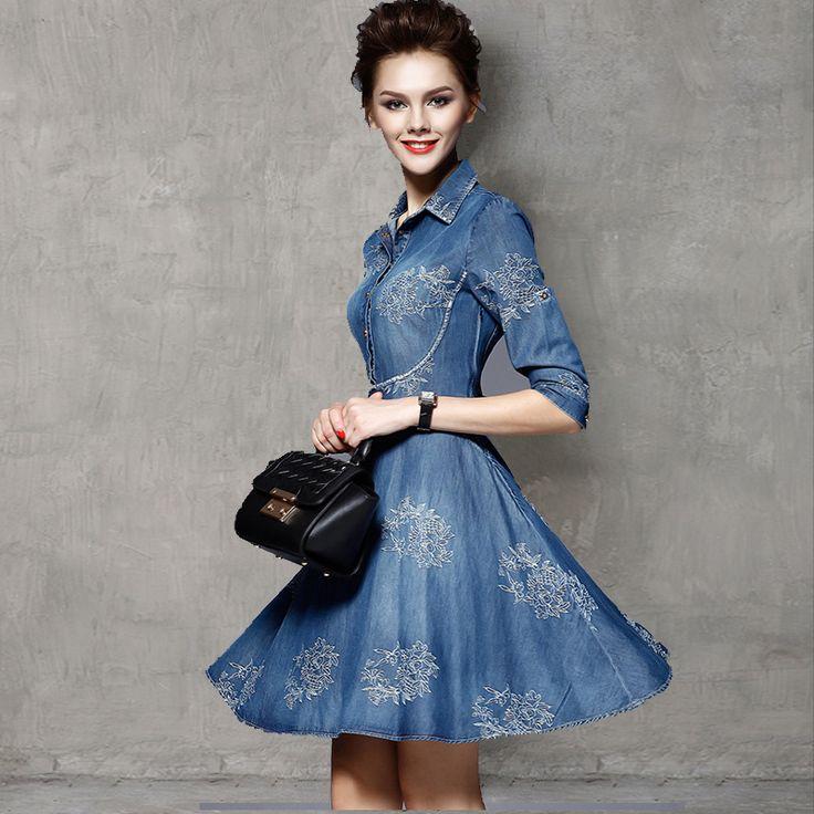 Купить 2016 весной женщины нового урожая джинсовые платья женщины поло воротник с коротким рукавом цветочной вышивкой Vestido Vestidos Большой размер платьяи другие товары категории Платьяв магазине Hangzhou J&M International Trading Co.,Ltd.наAliExpress. vestido и платье манекен
