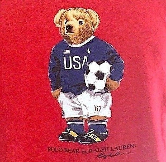 211a636e1c5 Ralph Lauren Polo USA MLS SOCCER BEAR T-Shirt Top Red Mens Small NWT Sold  Out!! | eBay