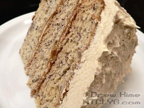 Banana cake with brown sugar buttercream frosting