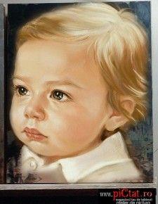 Tablouri pictate: Portret de baietel blond Portret Baiat portrete pictate in ulei pe panza