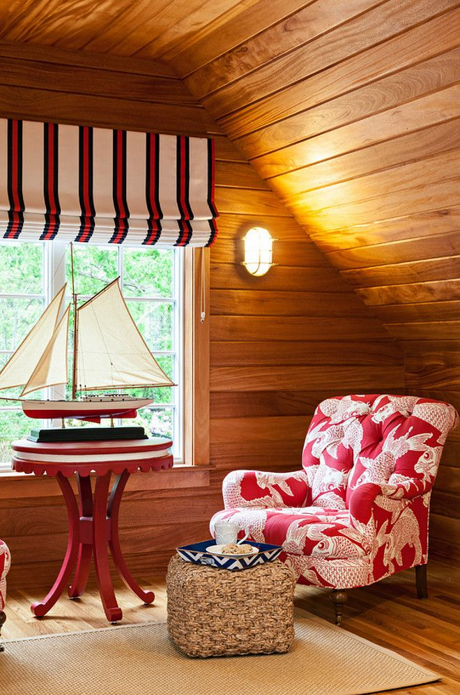 Cape Cod Cottage Bunk Room with African mahogany shiplap walls