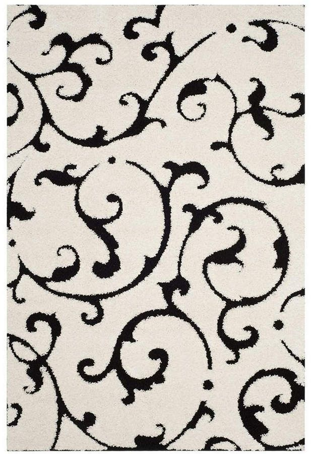 Best Safavieh Sh*G Ivory And Black 6 7 X 6 7 Square Area Rug 400 x 300