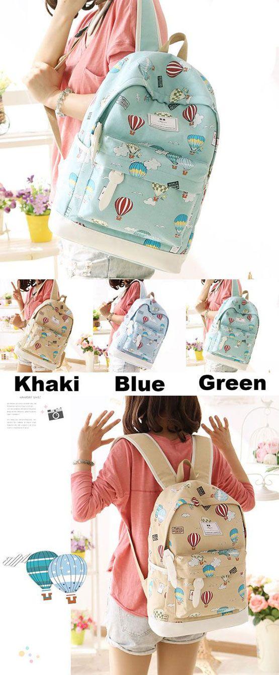 Which color do you like? Cute Hot Air Balloon Printing Girl's Canvas Junior High Cartoon School Backpack #cute #bag #backpack #cartoon #school #balloon