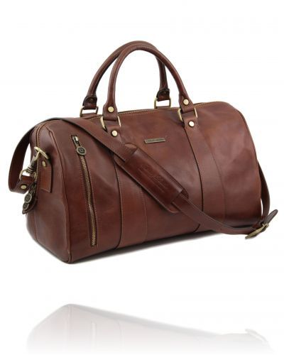 TL Voyager - Travel leather duffle bag - Small size Brown